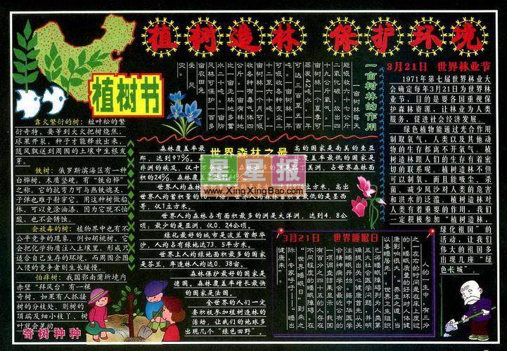 312植树节黑板报版面设计图