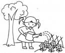小女孩浇花简笔画