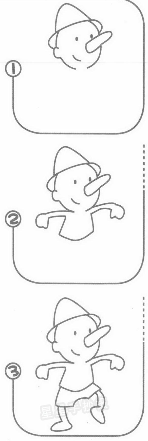 皮诺曹简笔画