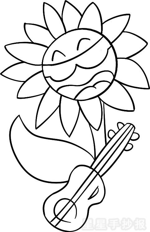 吉他花儿简笔画
