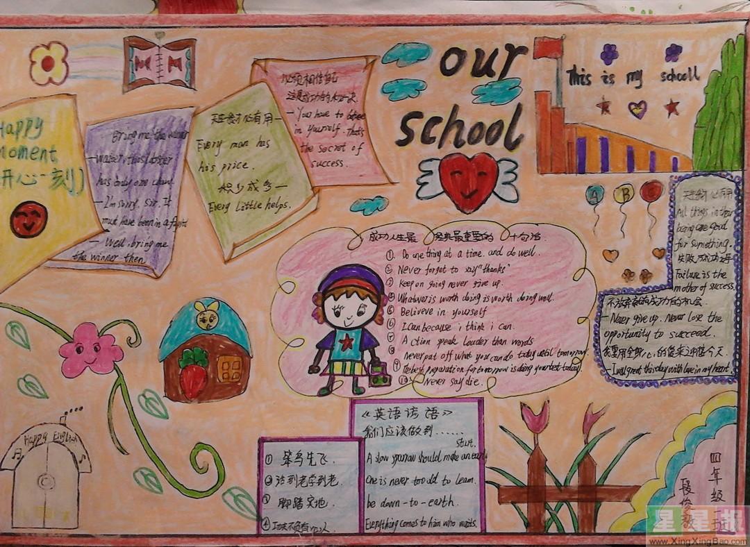 五年级Our School英语手抄报三张