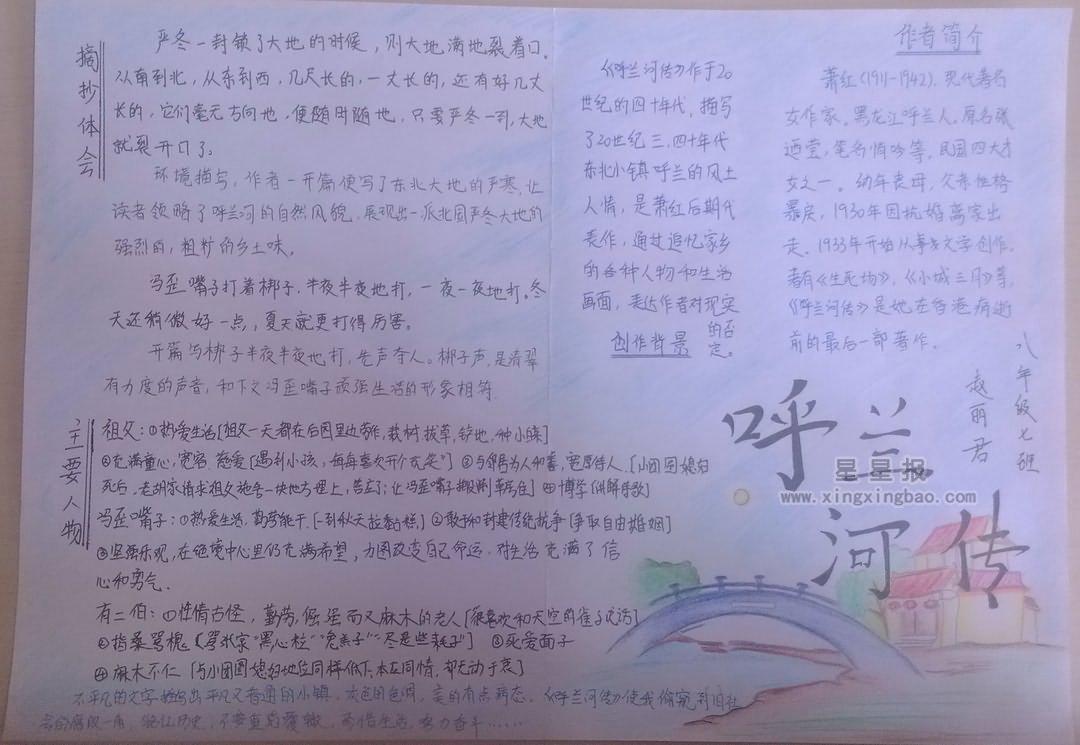 呼兰河传手抄报图片3张