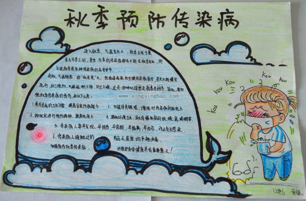 秋季预防传染病手抄报版面设计图