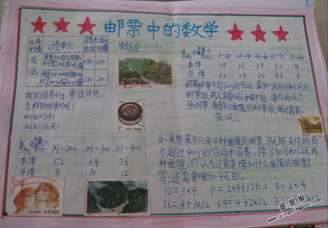 邮票中的数学手抄报图片大全
