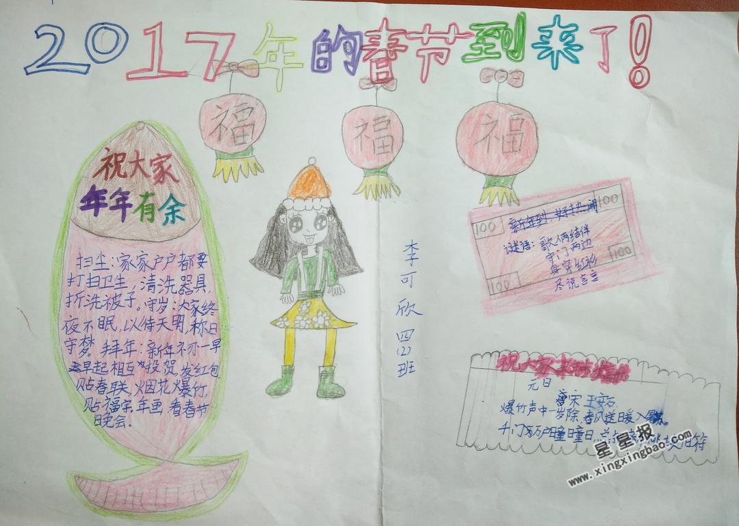 2017年的春节到来了手抄报图片、资料