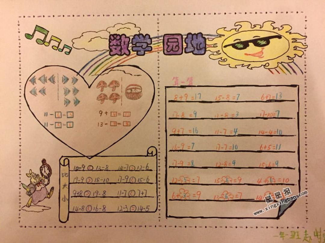 小学一年级数学园地手抄报