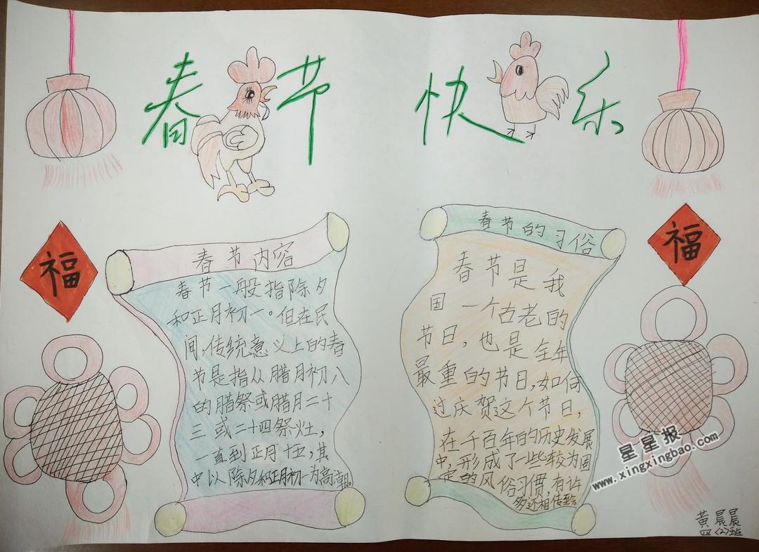 春节快乐手抄报图片、内容