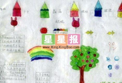 小学绘画作品――苹果树