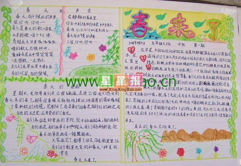 春天的声音手抄报(四年级作品)