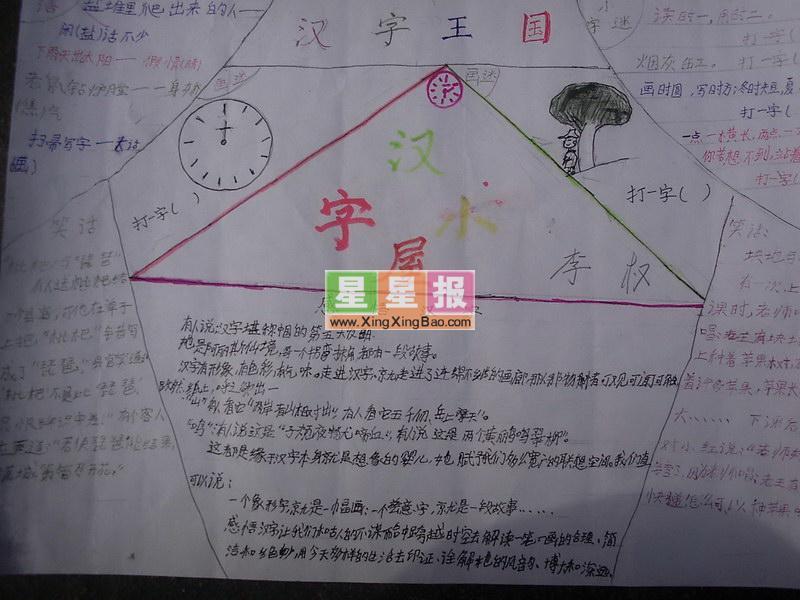 汉字王国手抄报——汉字屋图片